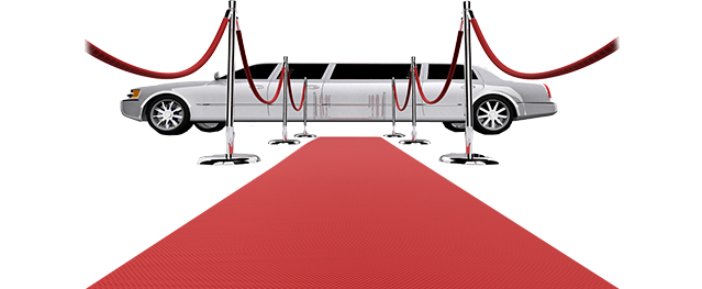 red carpet leading to a silver limo with red velvet rope and chrome polls and background cut out